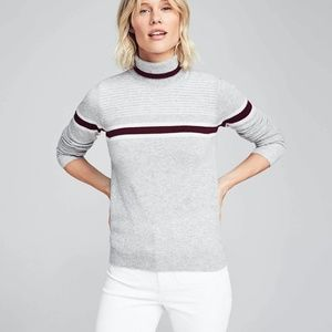 100% Cashmere Sweater in Grey with Burgundy Stripe